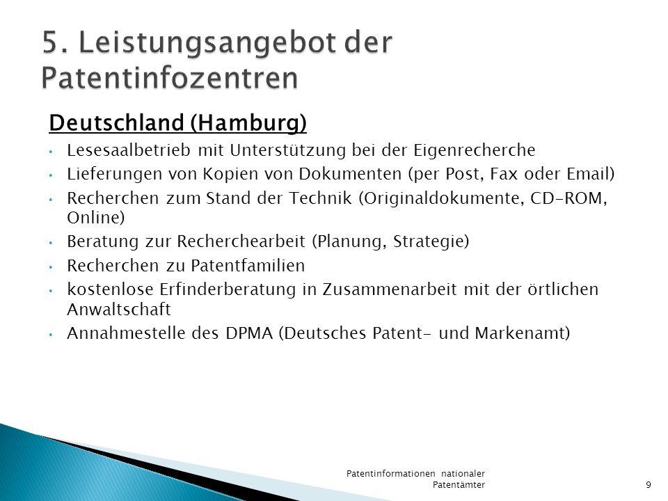 Deutschland (Hamburg) Lesesaalbetrieb mit Unterstützung bei der Eigenrecherche Lieferungen von Kopien von Dokumenten (per Post, Fax oder Email) Recher