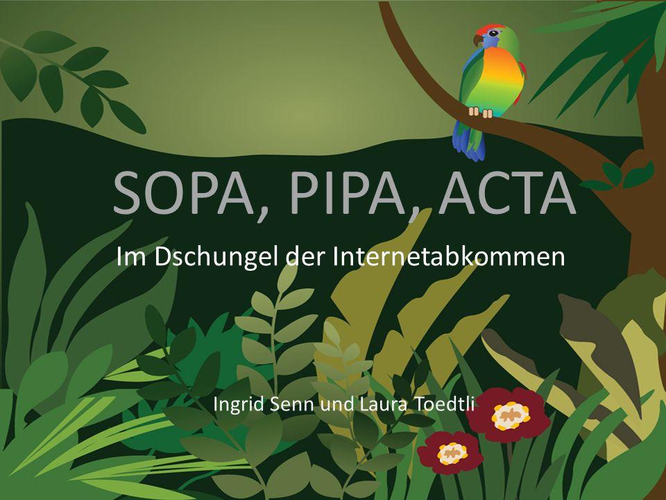 SOPA, PIPA, ACTA Im Dschungel der Internetabkommen Ingrid Senn und Laura Toedtli