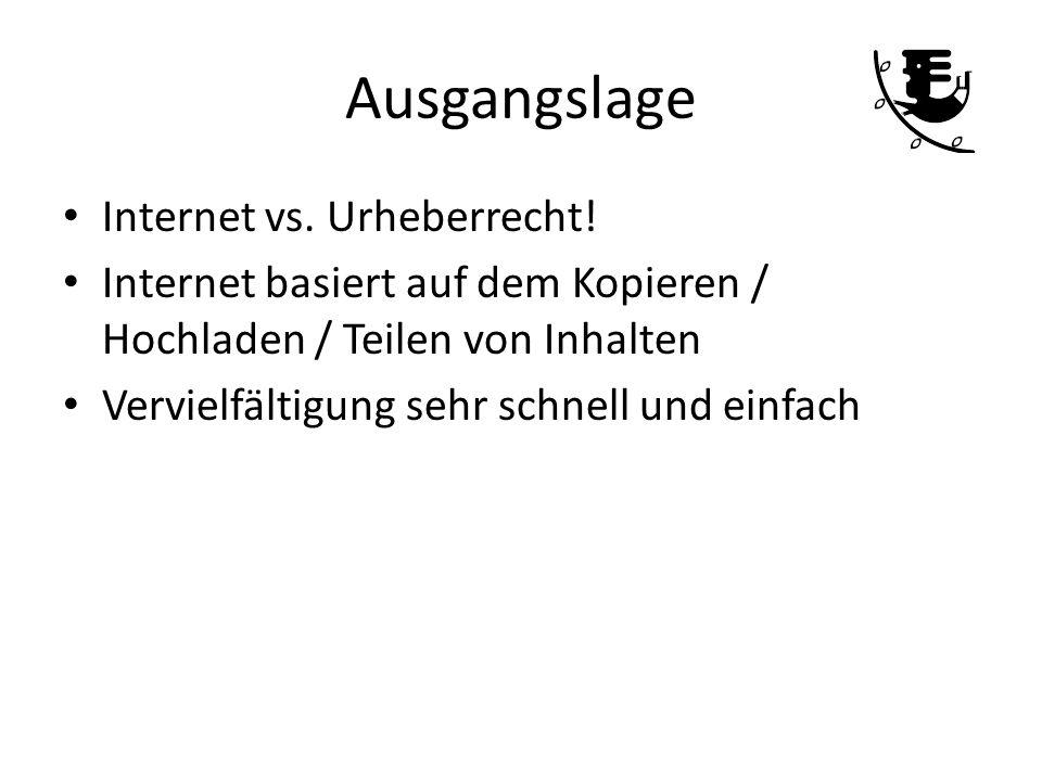 Ausgangslage Internet vs. Urheberrecht! Internet basiert auf dem Kopieren / Hochladen / Teilen von Inhalten Vervielfältigung sehr schnell und einfach