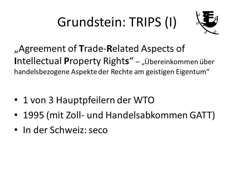 Grundstein: TRIPS (I) Agreement of Trade-Related Aspects of Intellectual Property Rights – Übereinkommen über handelsbezogene Aspekte der Rechte am ge