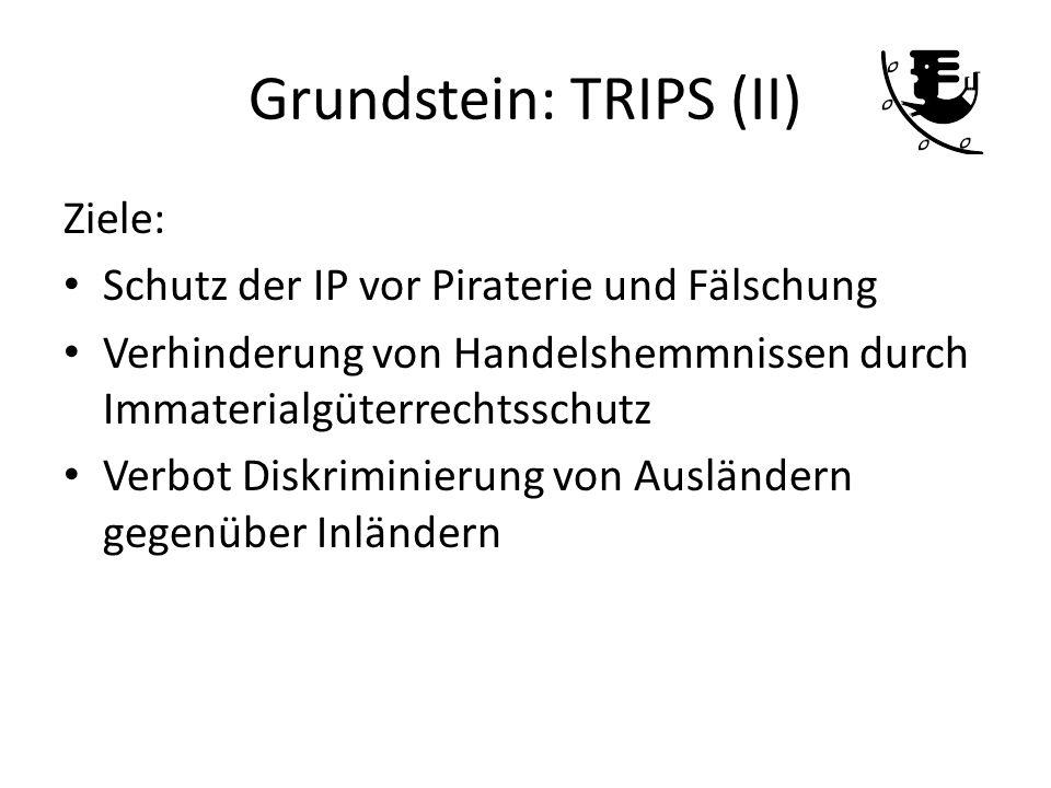 Grundstein: TRIPS (II) Ziele: Schutz der IP vor Piraterie und Fälschung Verhinderung von Handelshemmnissen durch Immaterialgüterrechtsschutz Verbot Di