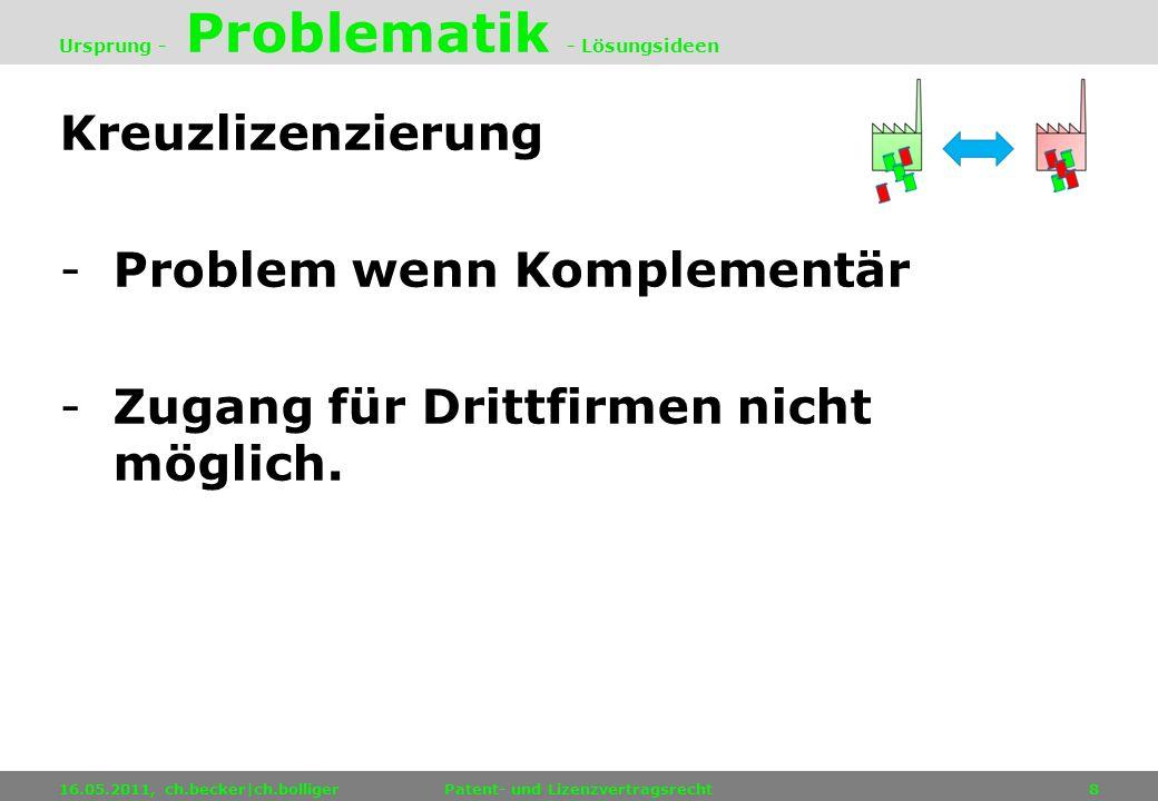 Kreuzlizenzierung -Problem wenn Komplementär -Zugang für Drittfirmen nicht möglich. 16.05.2011, ch.becker|ch.bolligerPatent- und Lizenzvertragsrecht8