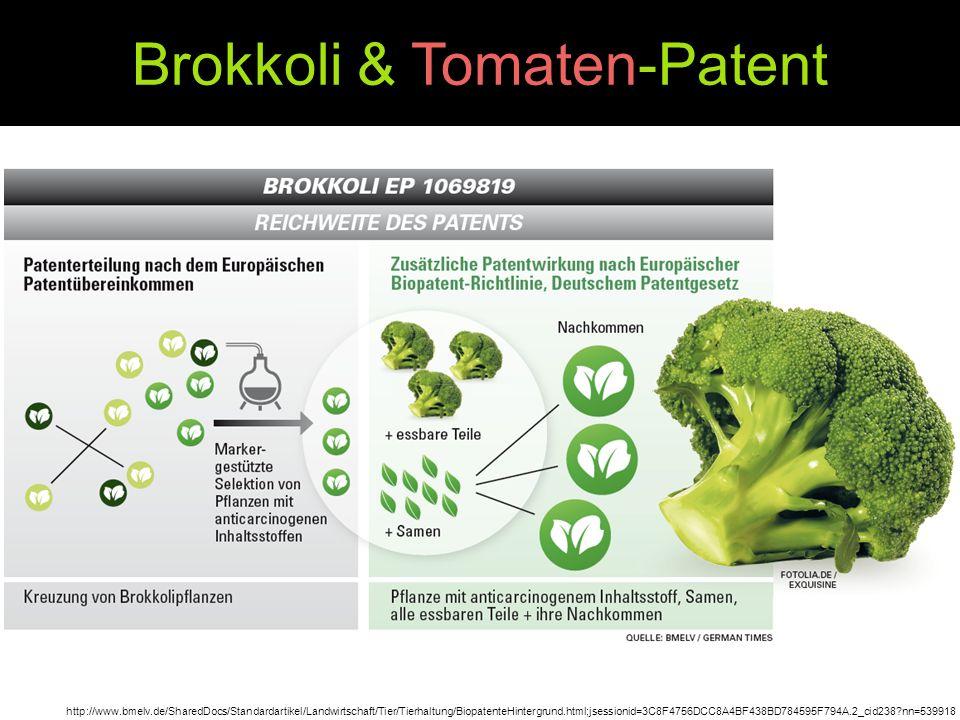 Brokkoli & Tomaten-Patent http://www.bmelv.de/SharedDocs/Standardartikel/Landwirtschaft/Tier/Tierhaltung/BiopatenteHintergrund.html;jsessionid=3C8F475