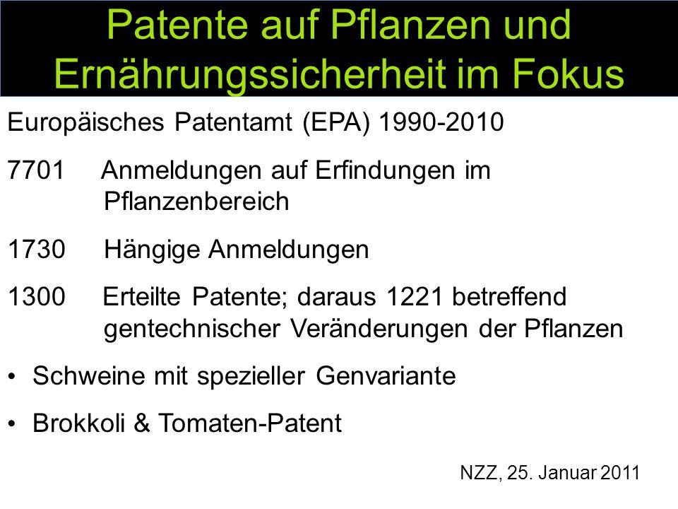 Patente auf Pflanzen und Ernährungssicherheit im Fokus Europäisches Patentamt (EPA) 1990-2010 7701 Anmeldungen auf Erfindungen im Pflanzenbereich 1730