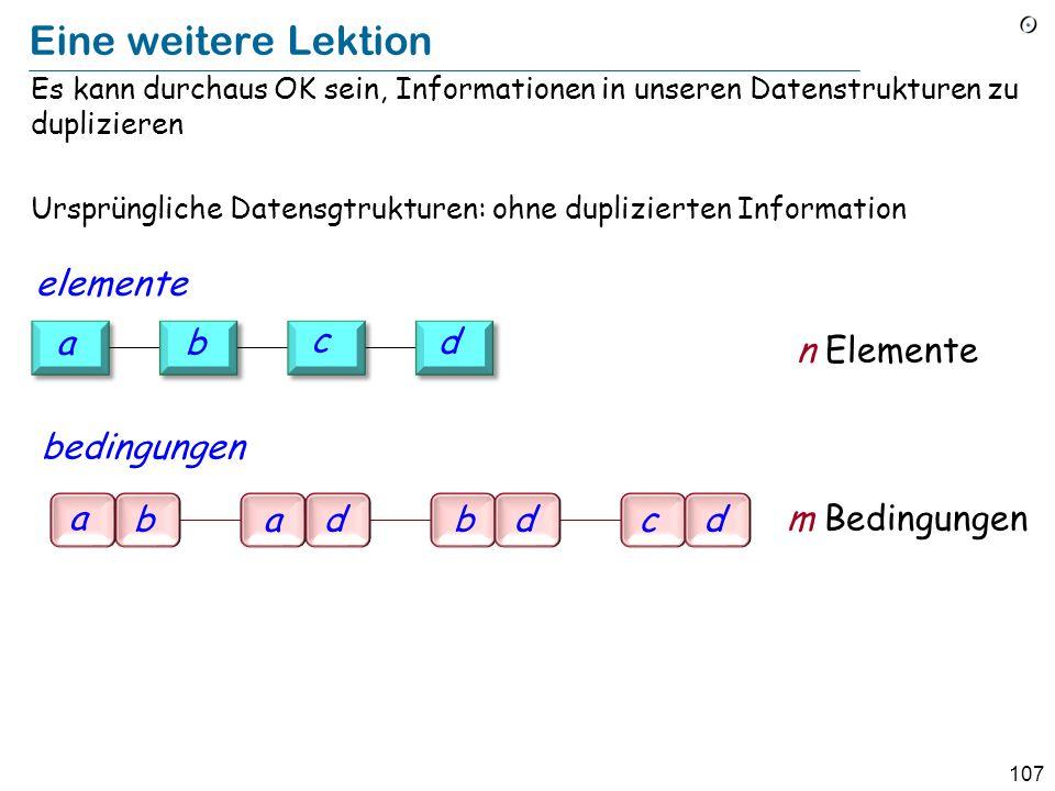 107 Eine weitere Lektion Es kann durchaus OK sein, Informationen in unseren Datenstrukturen zu duplizieren Ursprüngliche Datensgtrukturen: ohne duplizierten Information a badbdcd m Bedingungen b c d a n Elemente bedingungen elemente