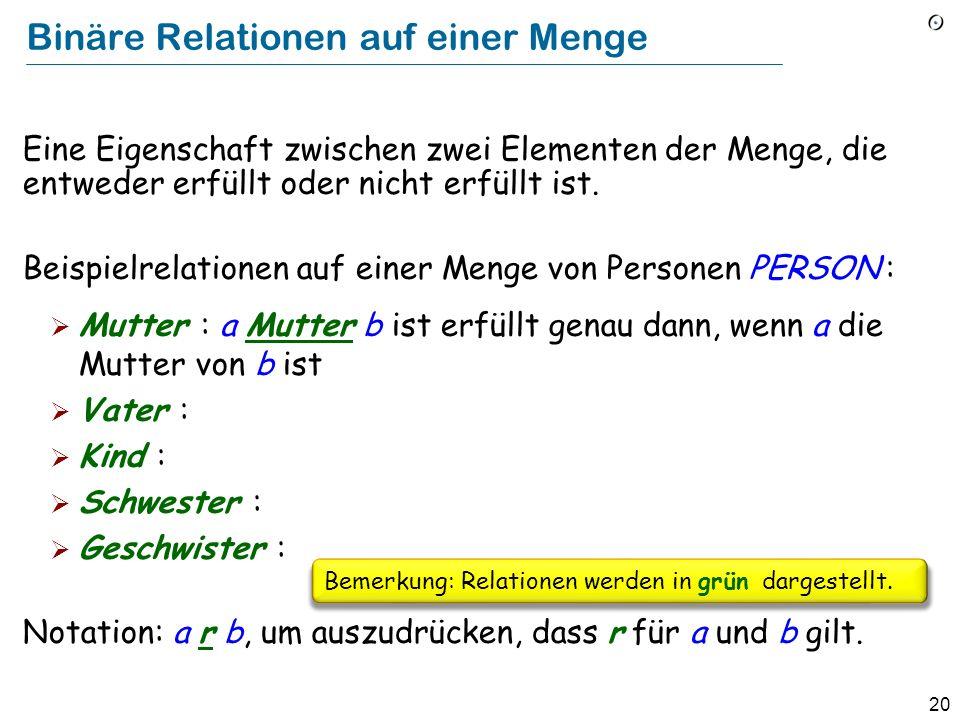 20 Binäre Relationen auf einer Menge Eine Eigenschaft zwischen zwei Elementen der Menge, die entweder erfüllt oder nicht erfüllt ist.