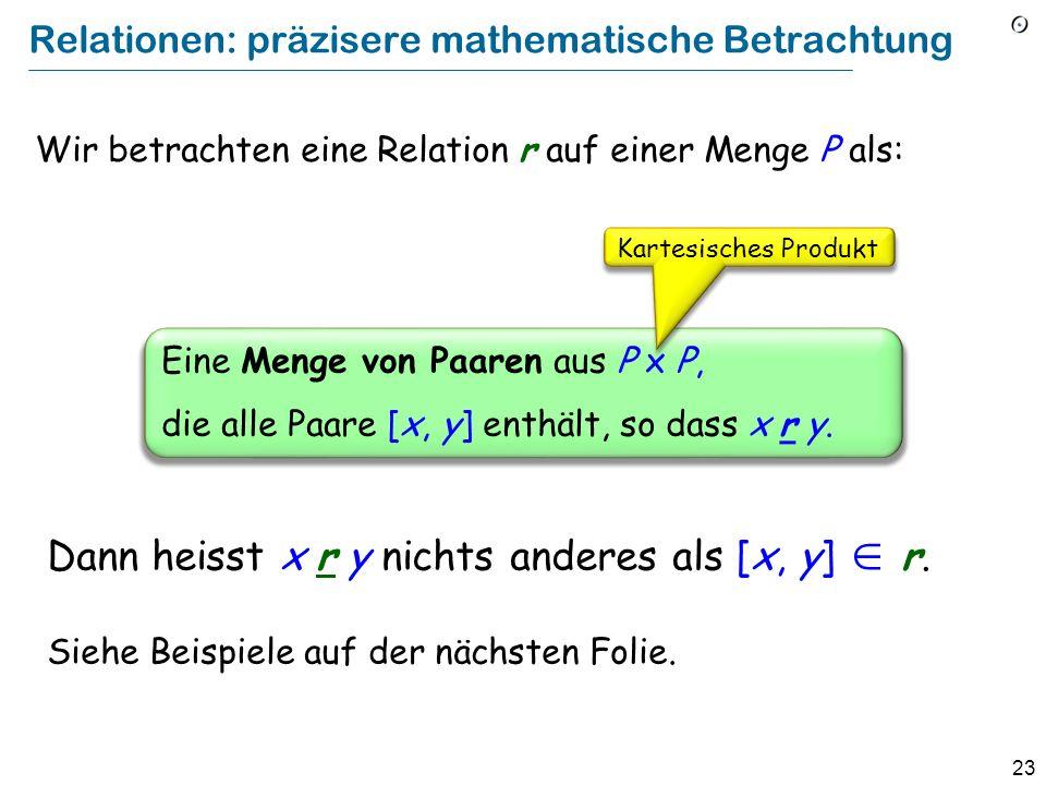 23 Relationen: präzisere mathematische Betrachtung Wir betrachten eine Relation r auf einer Menge P als: Eine Menge von Paaren aus P x P, die alle Paare [x, y] enthält, so dass x r y.