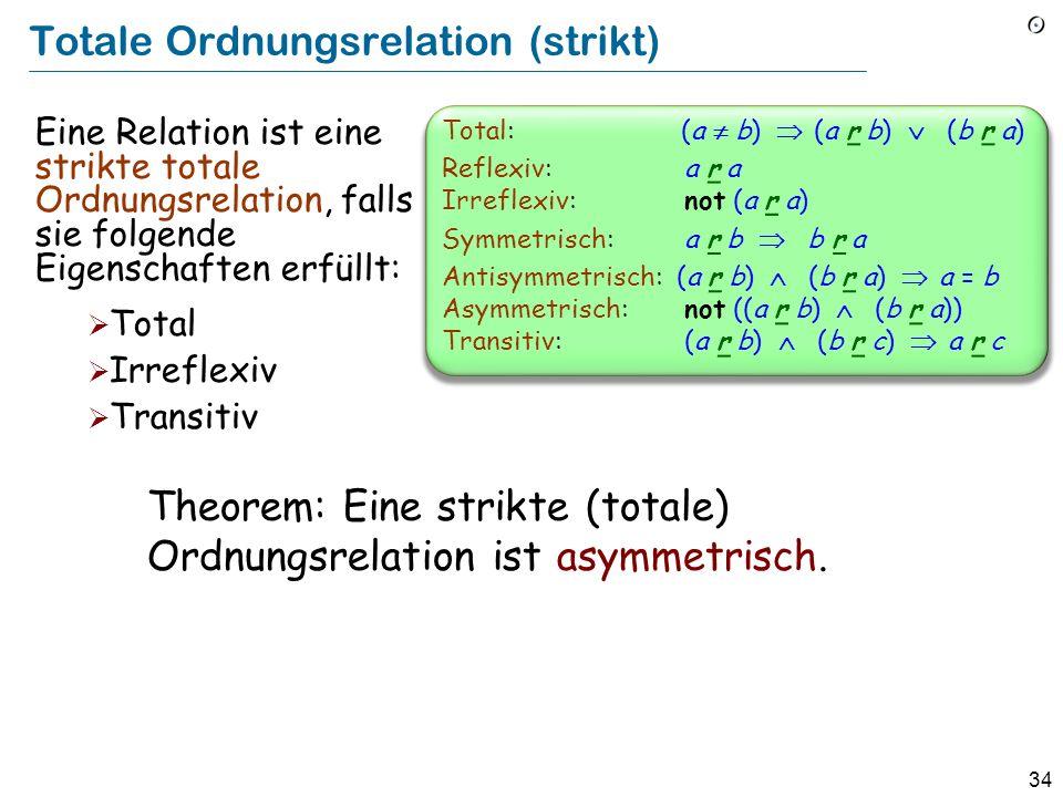 34 Totale Ordnungsrelation (strikt) Eine Relation ist eine strikte totale Ordnungsrelation, falls sie folgende Eigenschaften erfüllt: Total Irreflexiv Transitiv Theorem: Eine strikte (totale) Ordnungsrelation ist asymmetrisch.