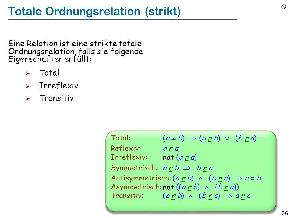 36 Totale Ordnungsrelation (strikt) Eine Relation ist eine strikte totale Ordnungsrelation, falls sie folgende Eigenschaften erfüllt: Total Irreflexiv