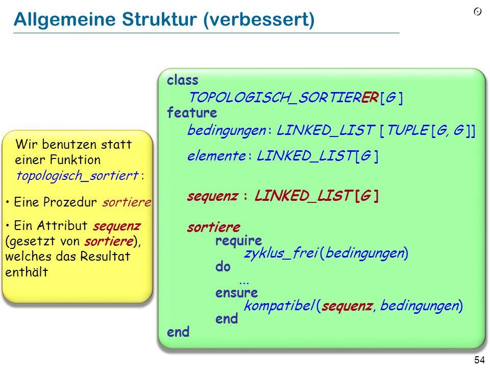 54 Allgemeine Struktur (verbessert) class TOPOLOGISCH_SORTIERER [G ] feature bedingungen : LINKED_LIST [TUPLE [G, G ]] elemente : LINKED_LIST [G ] seq