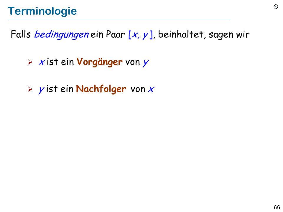 66 Terminologie Falls bedingungen ein Paar [x, y ], beinhaltet, sagen wir x ist ein Vorgänger von y y ist ein Nachfolger von x
