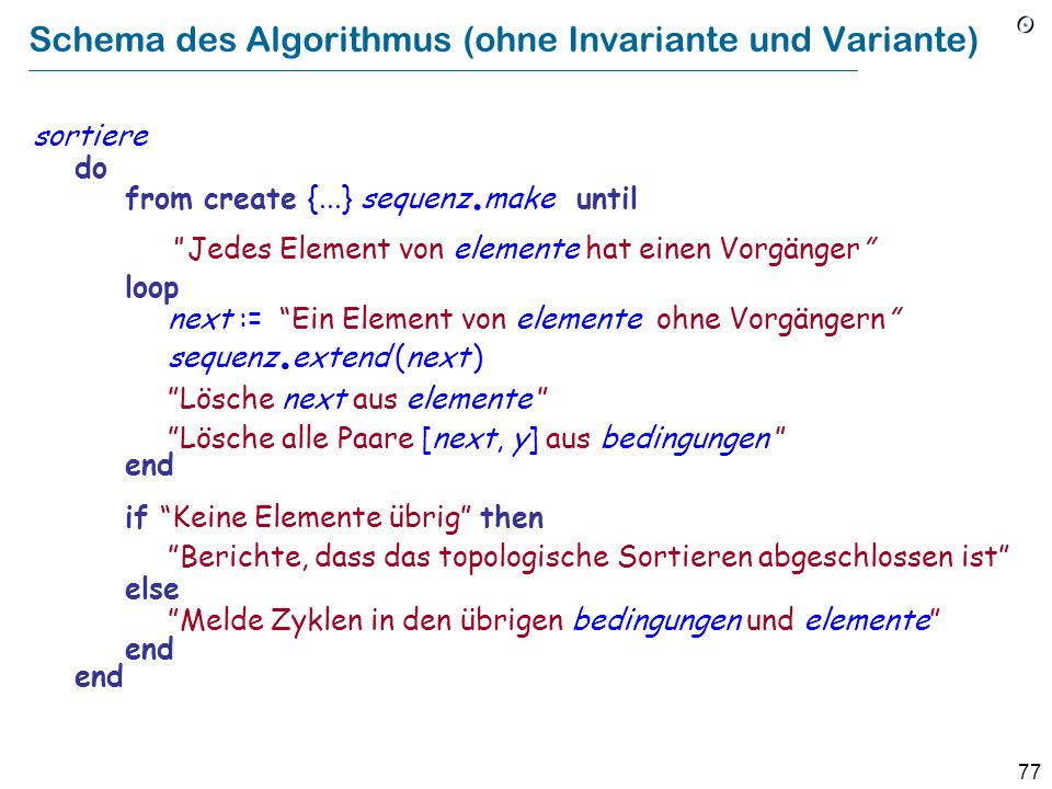 77 Schema des Algorithmus (ohne Invariante und Variante) sortiere do from create {...} sequenz.