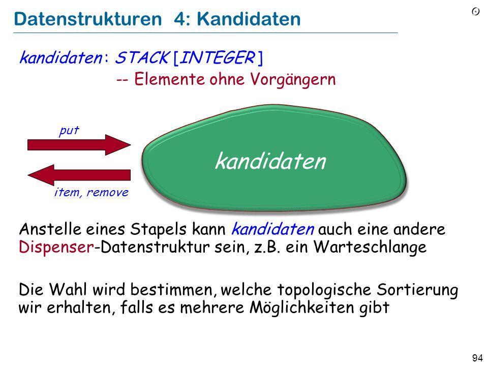 94 Datenstrukturen 4: Kandidaten kandidaten : STACK [INTEGER ] -- Elemente ohne Vorgängern Anstelle eines Stapels kann kandidaten auch eine andere Dispenser-Datenstruktur sein, z.B.