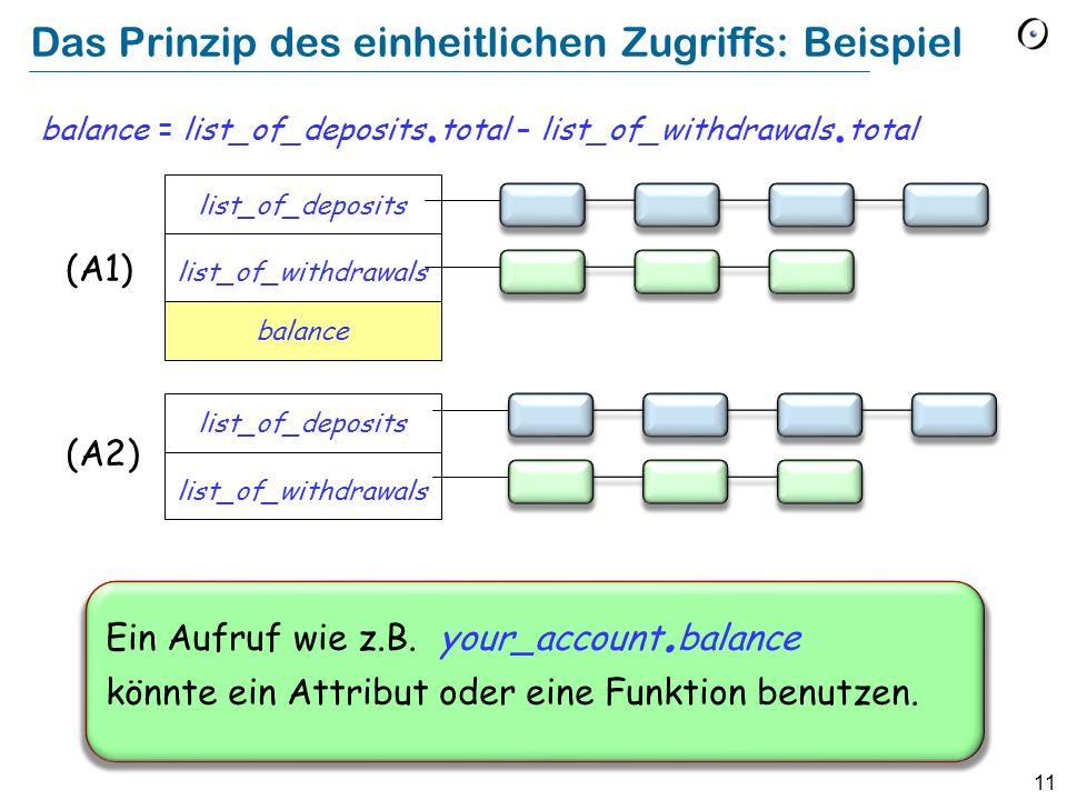 11 Das Prinzip des einheitlichen Zugriffs: Beispiel balance = list_of_deposits. total – list_of_withdrawals. total list_of_deposits list_of_withdrawal