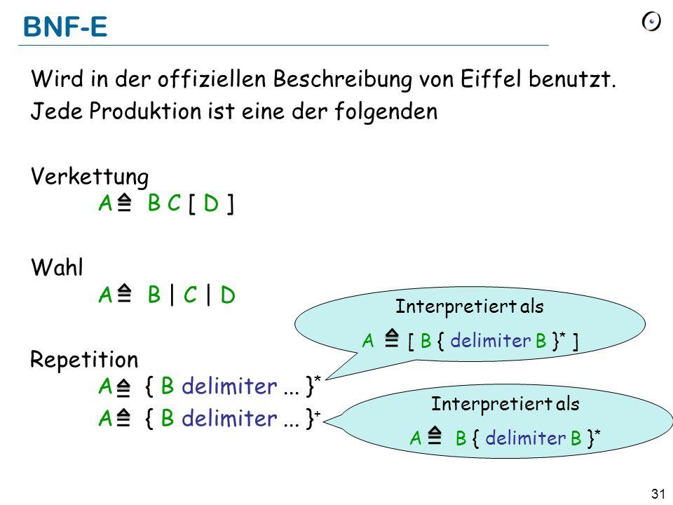 31 BNF-E Wird in der offiziellen Beschreibung von Eiffel benutzt. Jede Produktion ist eine der folgenden Verkettung A B C [ D ] Wahl A B | C | D Repet