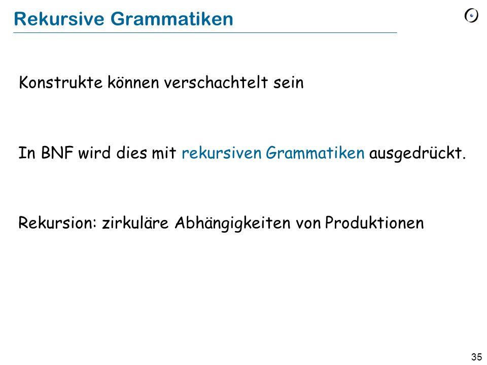 35 Rekursive Grammatiken Konstrukte können verschachtelt sein In BNF wird dies mit rekursiven Grammatiken ausgedrückt. Rekursion: zirkuläre Abhängigke
