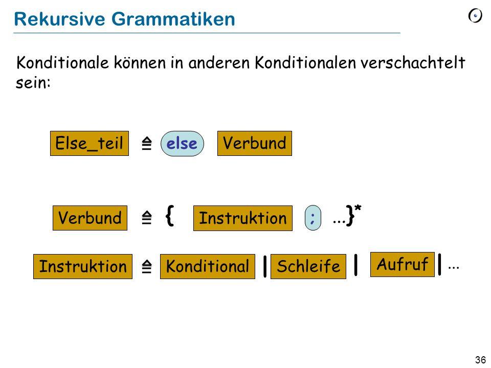 36 Konditionale können in anderen Konditionalen verschachtelt sein: Rekursive Grammatiken Else_teil else Verbund Instruktion …}*…}* {... Aufruf Kondit