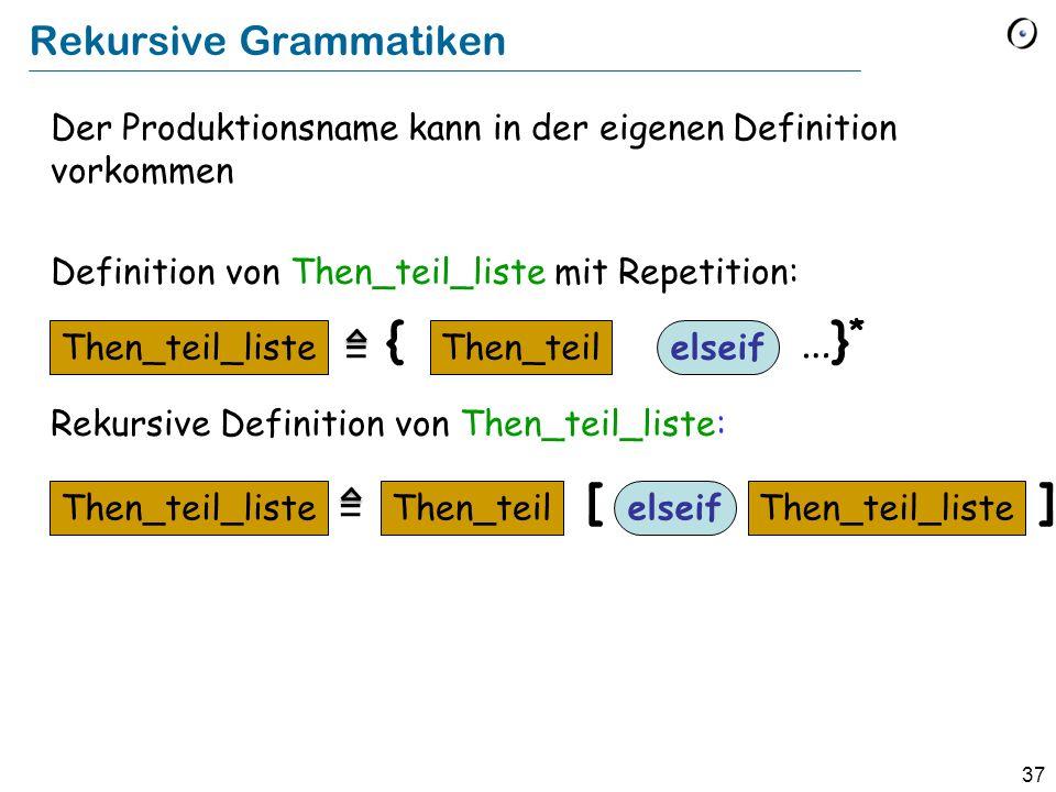 37 Der Produktionsname kann in der eigenen Definition vorkommen Definition von Then_teil_liste mit Repetition: Rekursive Definition von Then_teil_list