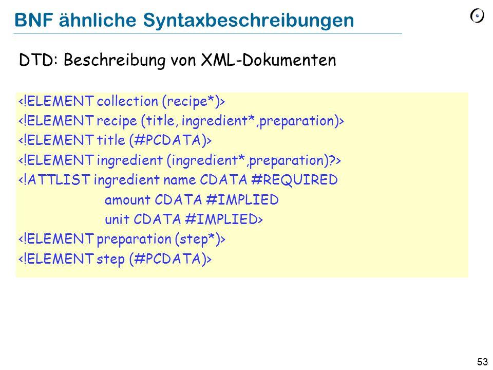 53 BNF ähnliche Syntaxbeschreibungen DTD: Beschreibung von XML-Dokumenten <!ATTLIST ingredient name CDATA #REQUIRED amount CDATA #IMPLIED unit CDATA #