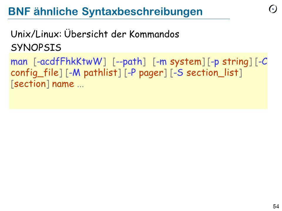 54 BNF ähnliche Syntaxbeschreibungen Unix/Linux: Übersicht der Kommandos SYNOPSIS man [-acdfFhkKtwW] [--path] [-m system] [-p string] [-C config_file]