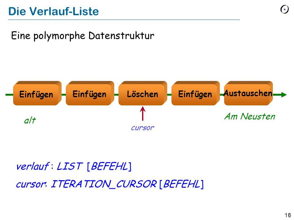 16 Die Verlauf-Liste Eine polymorphe Datenstruktur verlauf : LIST [BEFEHL] cursor: ITERATION_CURSOR [BEFEHL] Löschen Austauschen Einfügen alt Am Neusten cursor