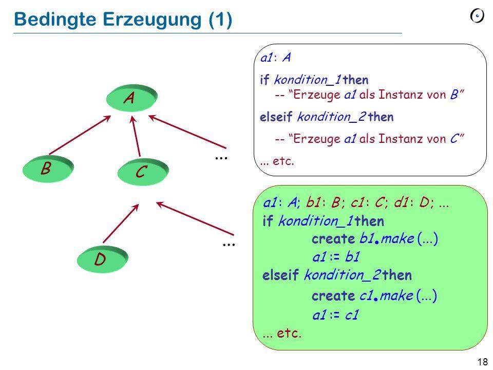 18 Bedingte Erzeugung (1) … … a1 : A if kondition_1 then -- Erzeuge a1 als Instanz von B elseif kondition_2 then -- Erzeuge a1 als Instanz von C...