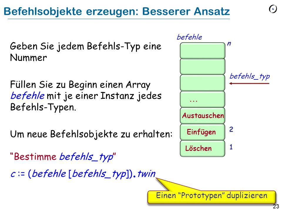 23 Befehlsobjekte erzeugen: Besserer Ansatz Geben Sie jedem Befehls-Typ eine Nummer Füllen Sie zu Beginn einen Array befehle mit je einer Instanz jedes Befehls-Typen.