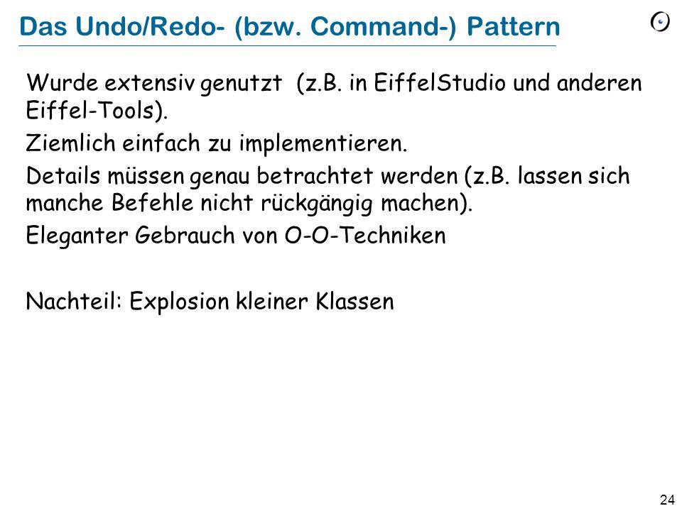 24 Das Undo/Redo- (bzw.Command-) Pattern Wurde extensiv genutzt (z.B.