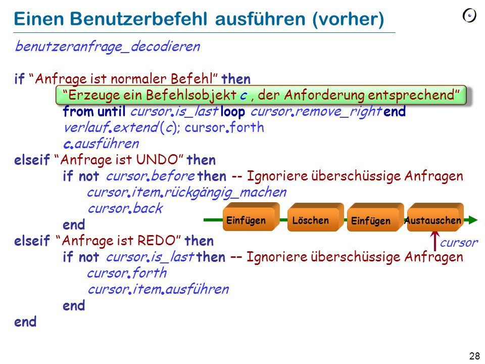 28 Einen Benutzerbefehl ausführen (vorher) benutzeranfrage_decodieren if Anfrage ist normaler Befehl then Erzeuge ein Befehlsobjekt c, der Anforderung entsprechend from until cursor is_last loop cursor remove_right end verlauf extend (c); cursor forth c ausführen elseif Anfrage ist UNDO then if not cursor before then -- Ignoriere überschüssige Anfragen cursor item rückgängig_machen cursor back end elseif Anfrage ist REDO then if not cursor is_last then –– Ignoriere überschüssige Anfragen cursor forth cursor item ausführen end Löschen Austauschen Einfügen cursor