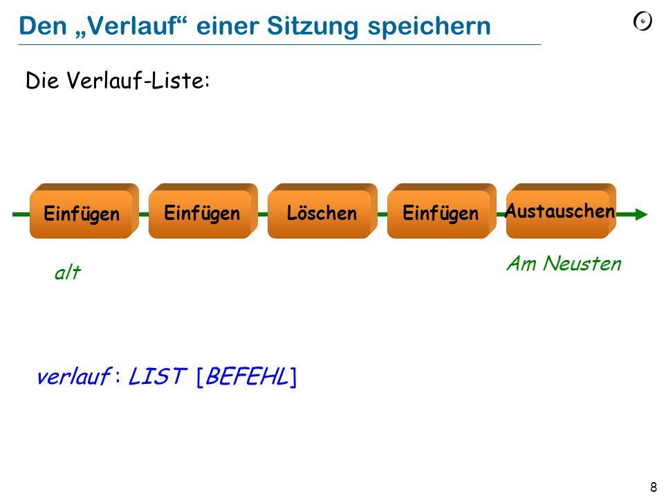 8 Den Verlauf einer Sitzung speichern Die Verlauf-Liste: verlauf : LIST [BEFEHL] Löschen Austauschen Einfügen alt Am Neusten