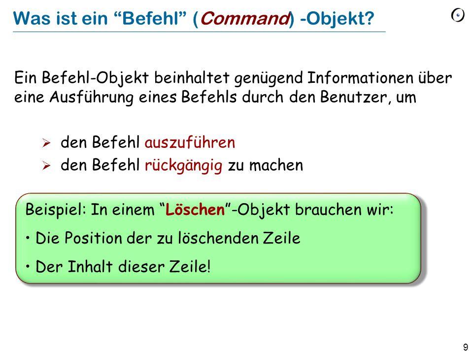 10 Allgemeiner Begriff eines Befehls deferredclassBEFEHL feature execute -- Eine Ausführung des Befehls ausführen.