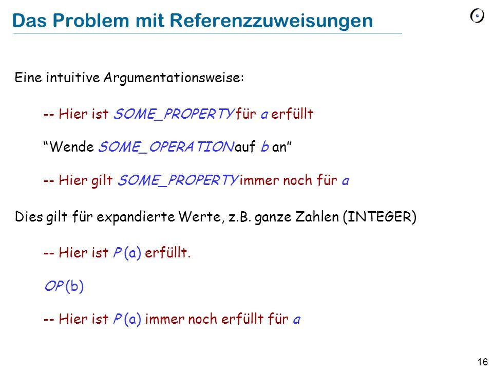 16 Das Problem mit Referenzzuweisungen Eine intuitive Argumentationsweise: -- Hier ist SOME_PROPERTY für a erfüllt Wende SOME_OPERATION auf b an -- Hi