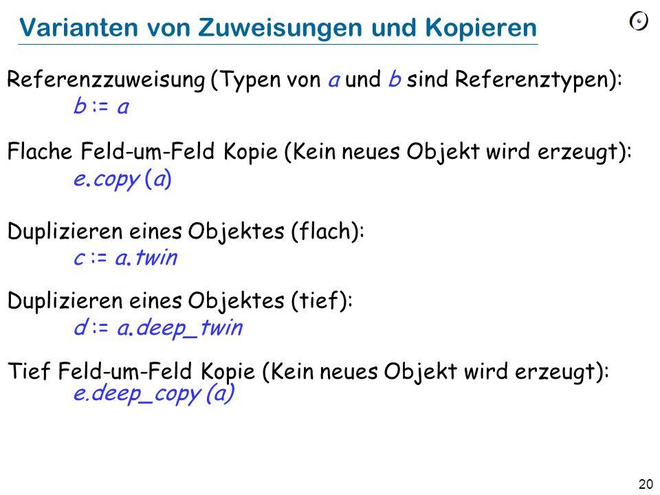 20 Varianten von Zuweisungen und Kopieren Referenzzuweisung (Typen von a und b sind Referenztypen): b := a Flache Feld-um-Feld Kopie (Kein neues Objek