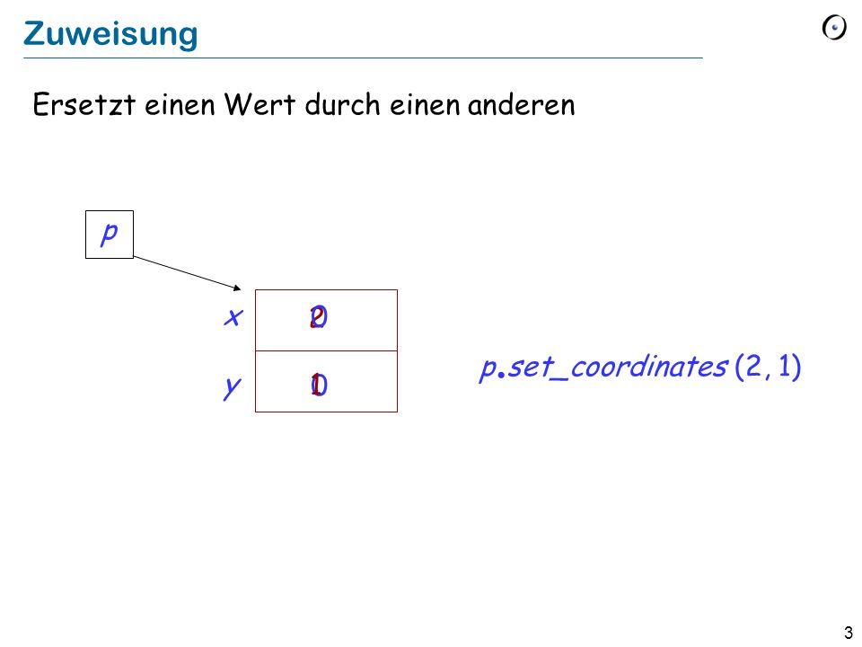 3 Zuweisung Ersetzt einen Wert durch einen anderen x y 2 0 p. set_coordinates (2, 1) 0 1 p