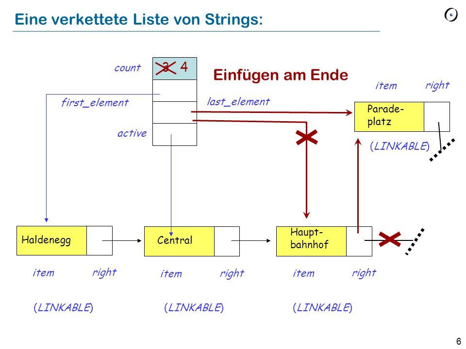 7 Ein Element am Ende einfügen extend (v : STRING) -- Füge v am Ende hinzu.