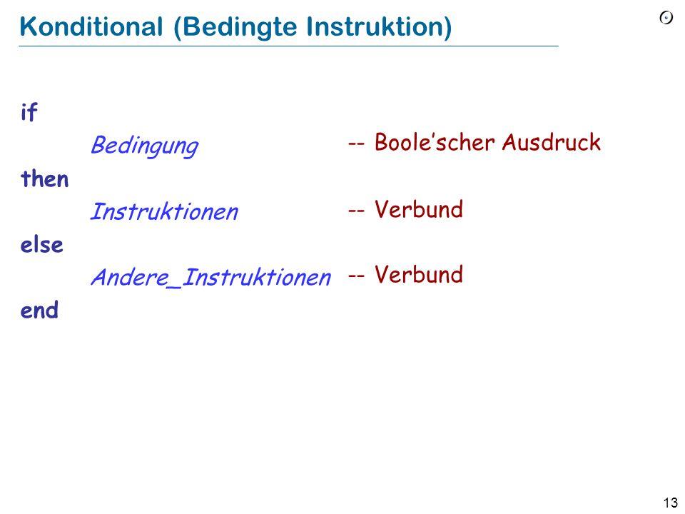 12 Korrektheit eines Verbunds Die Vorbedingung von Instruktion 1 muss zu Beginn erfüllt sein Die Nachbedingung von Instruktion i muss die Vorbedingung von Instruktion i + 1 implizieren Das Schlussresultat ist die Nachbedingung von Instruktion n Instruktion 1 Instruktion 2...