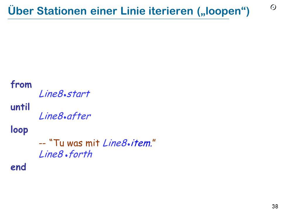 37 In Eiffel (volle Form) from Initialisierung-- Verbund invariant invarianter Ausdruck-- Boolescher Ausdruck variant varianter Ausdruck-- Integer-Ausdruck until Abbruchbedingung-- Boolescher Ausdruck loop Rumpf-- Verbund (Schleifenrumpf) end