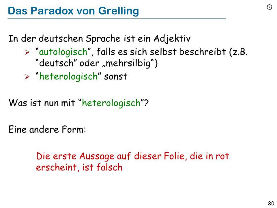 79 Paradoxa in der Logik Das Paradox von Russel: Manche Mengen sind Element von sich selber; die Menge aller unendlichen Mengen ist z.B.