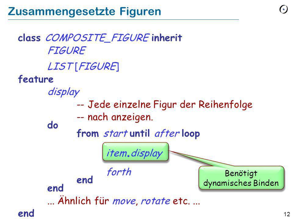 12 Zusammengesetzte Figuren class COMPOSITE_FIGURE inherit FIGURE LIST [FIGURE] feature display -- Jede einzelne Figur der Reihenfolge -- nach anzeigen.