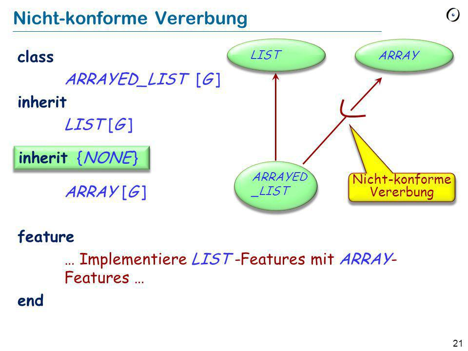 21 Nicht-konforme Vererbung class ARRAYED_LIST [G ] inherit LIST [G ] ARRAY [G ] feature … Implementiere LIST -Features mit ARRAY- Features … end inherit {NONE } ARRAYLIST ARRAYED _LIST Nicht-konforme Vererbung