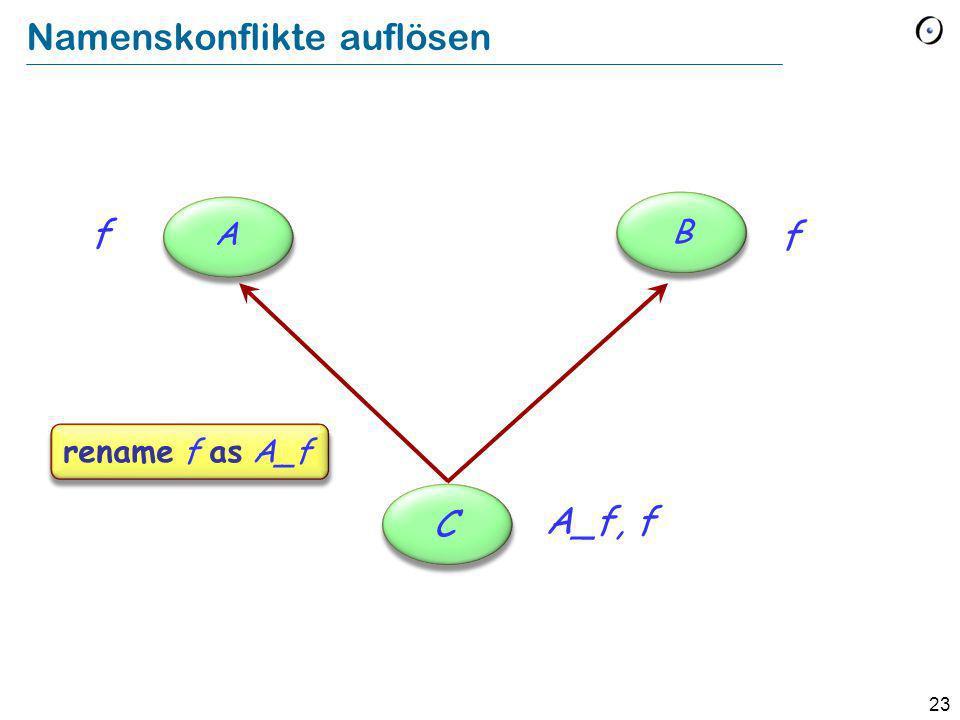 23 Namenskonflikte auflösen f rename f as A_f C f A B A_f, f