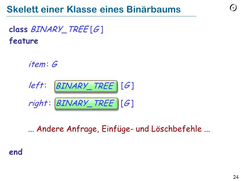 24 Skelett einer Klasse eines Binärbaums class BINARY_TREE [G ] feature item : G left : BINARY_TREE [G ] right : BINARY_TREE [G ]... Andere Anfrage, E
