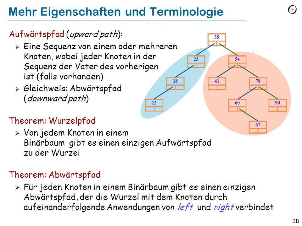 28 Mehr Eigenschaften und Terminologie Aufwärtspfad (upward path): Eine Sequenz von einem oder mehreren Knoten, wobei jeder Knoten in der Sequenz der