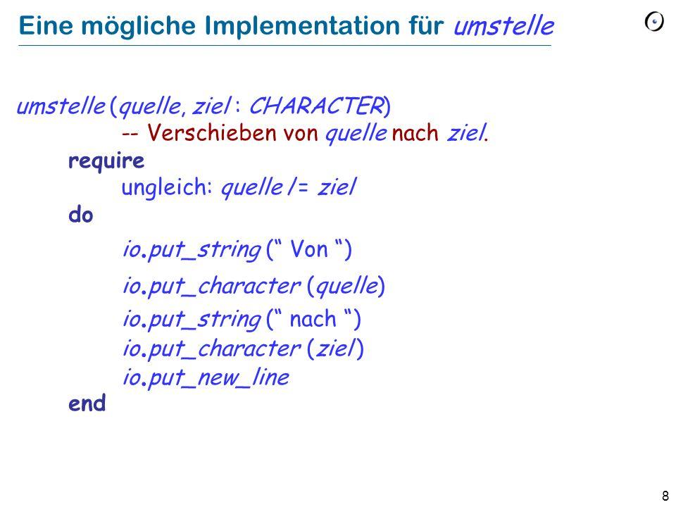 8 Eine mögliche Implementation für umstelle umstelle (quelle, ziel : CHARACTER) -- Verschieben von quelle nach ziel. require ungleich: quelle /= ziel