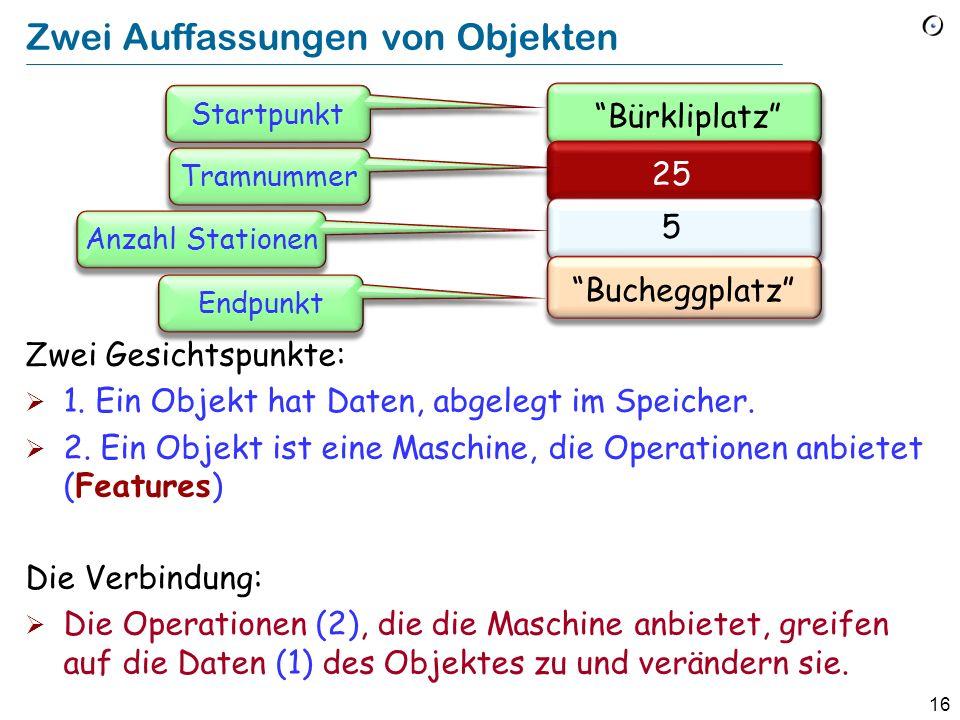 16 Zwei Auffassungen von Objekten Zwei Gesichtspunkte: 1. Ein Objekt hat Daten, abgelegt im Speicher. 2. Ein Objekt ist eine Maschine, die Operationen