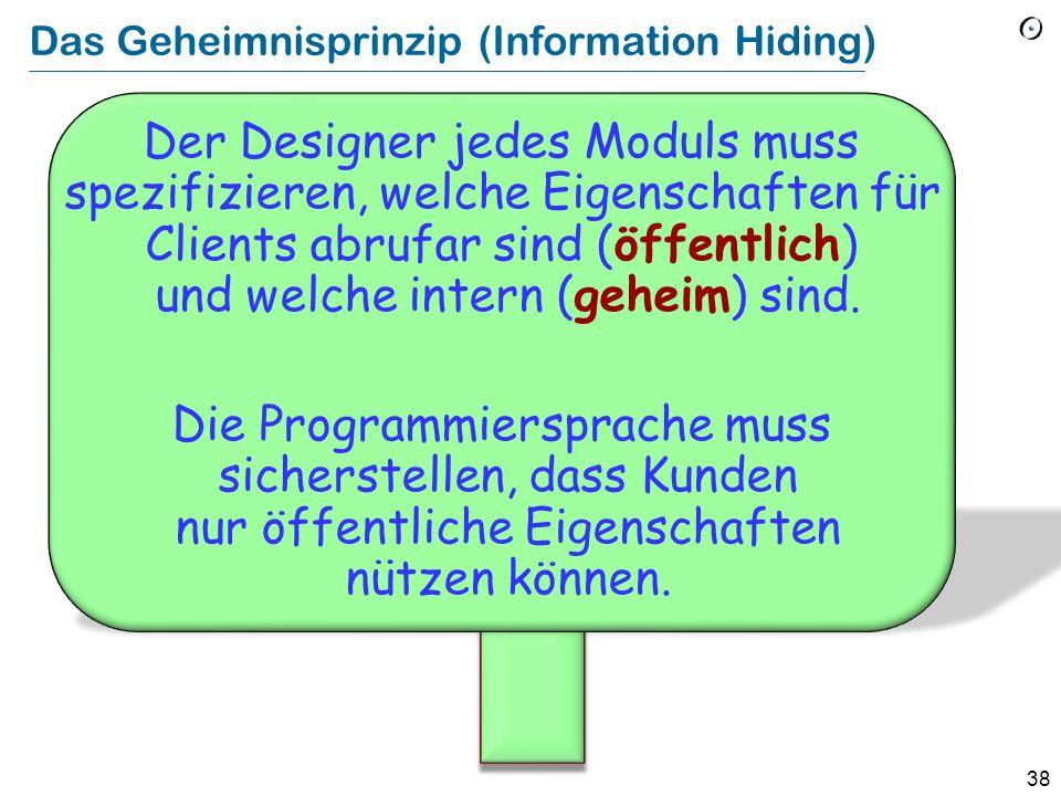 38 Das Geheimnisprinzip (Information Hiding) Der Designer jedes Moduls muss spezifizieren, welche Eigenschaften für Clients abrufar sind (öffentlich)