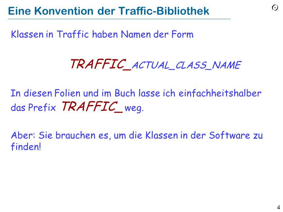 4 Eine Konvention der Traffic-Bibliothek Klassen in Traffic haben Namen der Form TRAFFIC_ ACTUAL_CLASS_NAME In diesen Folien und im Buch lasse ich einfachheitshalber das Prefix TRAFFIC_ weg.