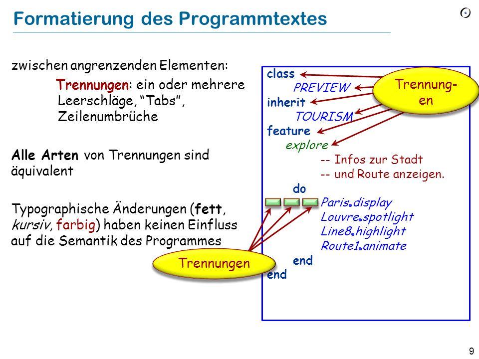 9 Formatierung des Programmtextes zwischen angrenzenden Elementen: Trennungen: ein oder mehrere Leerschläge, Tabs, Zeilenumbrüche Alle Arten von Trennungen sind äquivalent Typographische Änderungen (fett, kursiv, farbig) haben keinen Einfluss auf die Semantik des Programmes class PREVIEW inherit TOURISM feature explore -- Infos zur Stadt -- und Route anzeigen.