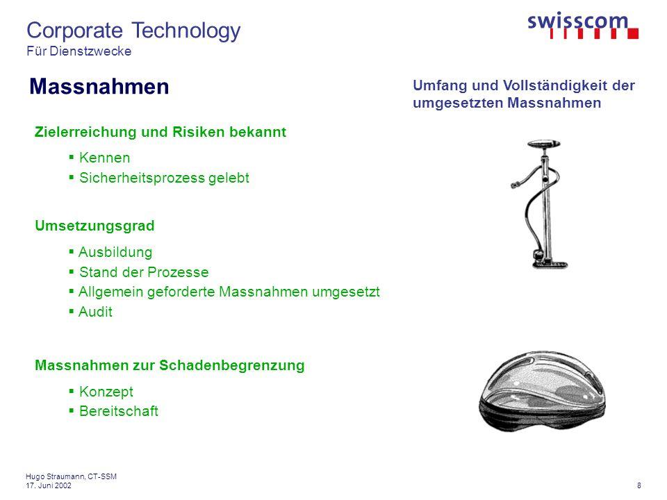 Corporate Technology Für Dienstzwecke 9 Hugo Straumann, CT-SSM 17.