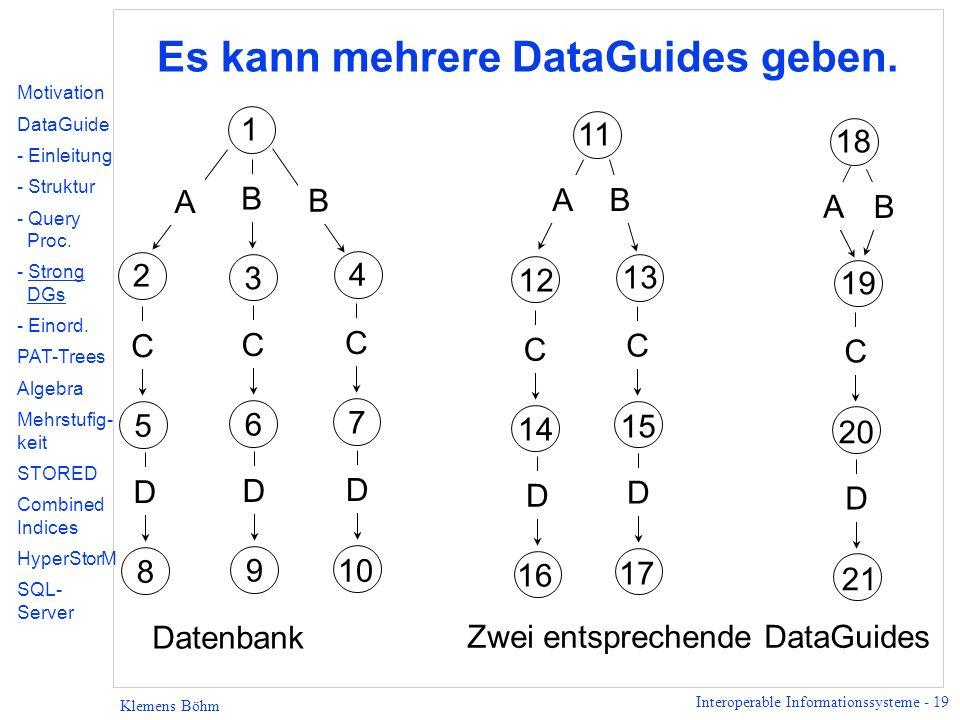 Interoperable Informationssysteme - 19 Klemens Böhm Es kann mehrere DataGuides geben.